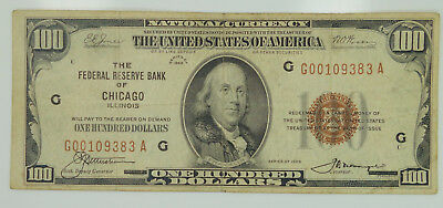 1929 Series $100 National Currency Fed. Reserve Bank Chicago Note F-1890G K39