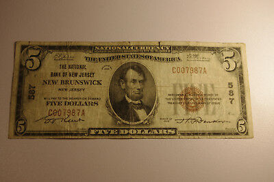 1929 The National Bank of New Jersey, New Brunswick, $5 National Currency Note