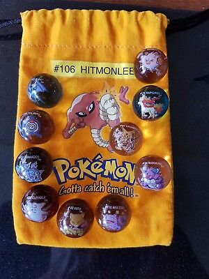 POKEMON MARBLES, RARE SET OF 10 POKEMON MARBLES, MARBLE POUCH, CHEAPEST on EBAY!