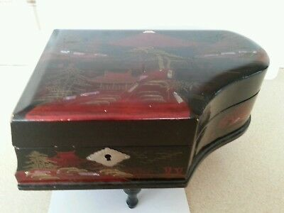 Vintage Japanese Lacquer Black Music Jewelry Box : Piano Shape