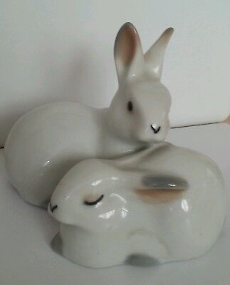 Adoreable Cute VINTAGE SOVIET PORCELAIN ORNAMENT Mother and Baby Rabbits