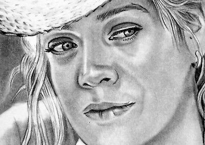 ORIGINAL ACEO sketch card WALKING DEAD Laurie Holden ANDREA