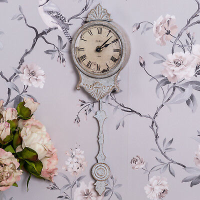 Antique Cream Pendulum Wall Clock Shabby Vintage Chic French Style Home Decor