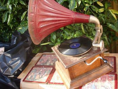 Vintage Antique Old Gramophone With Horn and Sound Box For Restoration Or Repair