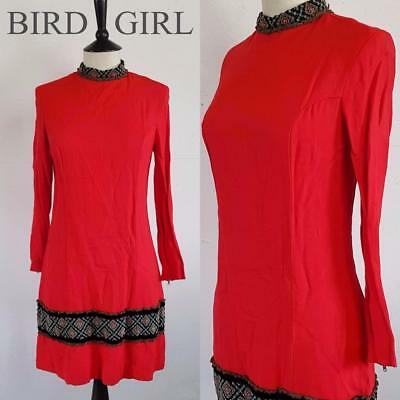 Tapestry Trims 1960S Vintage Red Military Ethnic Mod Twiggy Mini Dress 10 S
