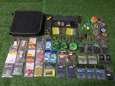 Prologic pouch full of carp fishing terminal tackle (carp barbel tackle)