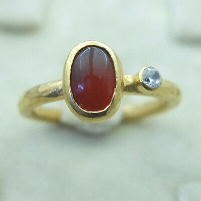 Hammered Handmade Carnelian Ring With Zircon 24K Gold Over 925K Sterling Silver