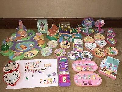 Vintage Bluebird Polly Pocket Bundle X 17 Houses Sets & Lots Of Figures Lot