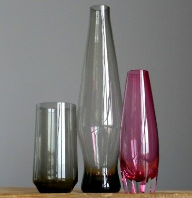 3xRETRO Vintage 60-70's WMF Wagenfeld Smoke Glass Vases Set German Fat Lava Era