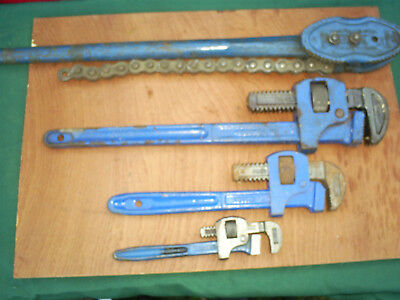 "3 Sets Of Record Stilsons 8""/12""/18"" And 231 Chain Wrench"