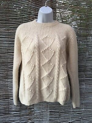 Aran Cable Knit Jumper Women's S/M in Cream