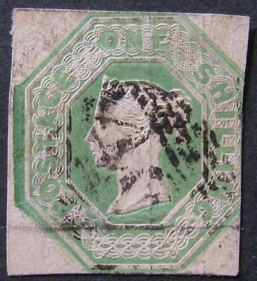 QV 1/- embossed, fair used/soiled. Sg.54. Cat £1000