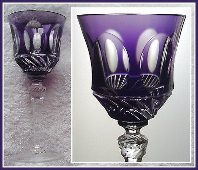 AMETHYST PURPLE Wine Goblet Glass Hock CUT 2 CLEAR CRYSTAL Villeroy V&B IMPERIAL