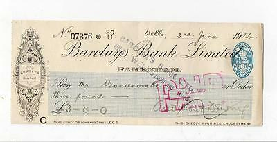 (A586)  Barclays Bank Fakenham 1924 Cheque See Scans