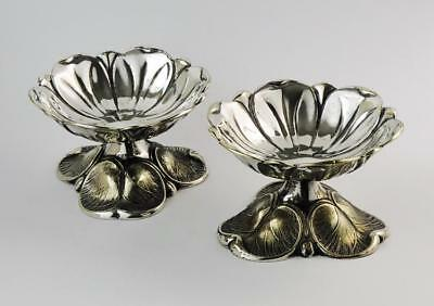 AESTHETIC MOVEMENT LILY PAD SALT CELLARS c1880 Silver Plated