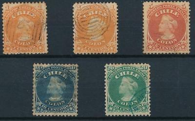 [38097] Chile 1867/68 Good lot of Very Fine used stamps