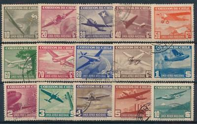 [38108] Chile 1941/42 Good airmail set of Very Fine used stamps