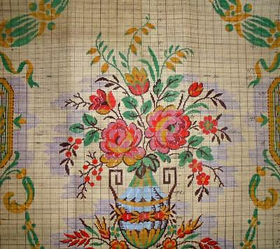 Beautiful Antique/vintage Hand Painted French Jacquard Design Cartoon Dated 1928