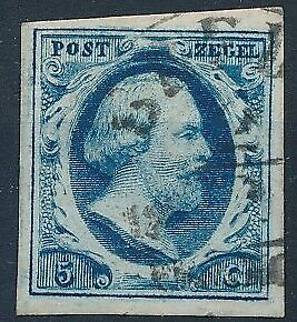 [3855] Netherlands 1852 good classic stamp very fine used. Dark blue