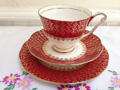Vintage China Tea Cup Saucer & Plate Trio Queen Anne Red & Gold