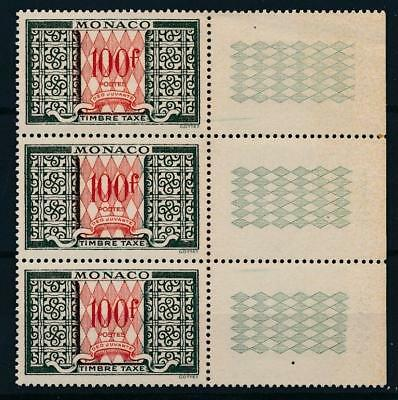 [38572] Monaco 1957 Good postage due band of 3 Very Fine MNH stamps