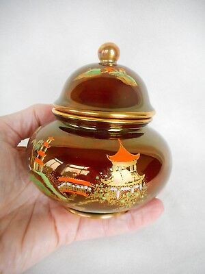 Carlton Ware Rouge  Lidded Jar  ~ Decorated With ' New Mikado ' ~ Sumptuous
