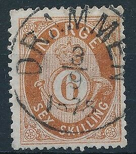 [3983] Norway 1871-75 good classic stamp very fine used with nice cancel