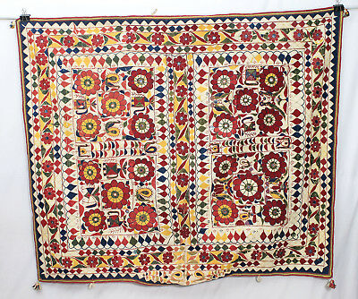 "64"" X 55"" Vintage Heavy Embroidery Rabari Ethnic Door Wall Tribal Hanging"