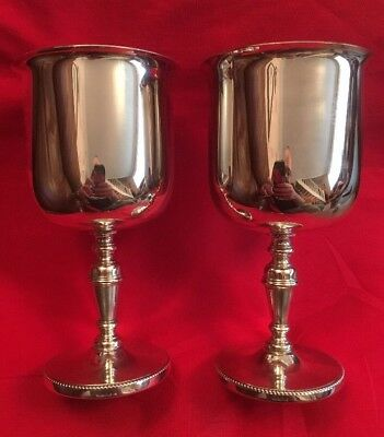 Pair Of Vintage English Silver Plated Goblets