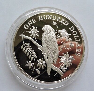 1988 Dominica $100 Silver Proof Imperial Parrot  - Birds Of The Caribbean