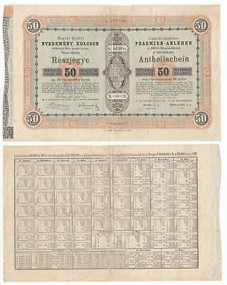 MB.040) HUNGARY 50 forint 1870 / State loan bond / 270 x 170 mm / large size