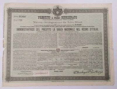 MB.046) ITALY 10 lire 1888 / Bevilacqua La Masa Foundation bond / large size