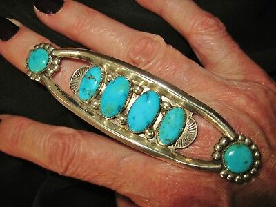 NAVAJO FRED HARVEY ERA RING - VERY LONG TURQUOISE STERLING SILVER RING, 32 grams