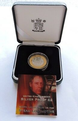 2004 Royal Mint £2 Silver Proof Steam Locomotive Cased With COA