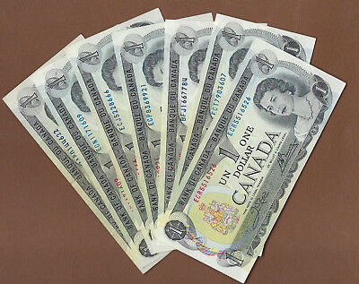 1973 Canada $1 Bank Notes  (7 in all)... Bid Now!!