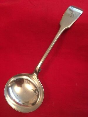 Antique Silver Plated Fiddleback Sauce Ladle By John Round & Sons c.1867-1897