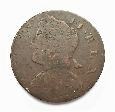 George II 1736 Non Regal Halfpenny Possible colonial interest