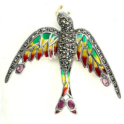 Awesome Ruby Marcasite 925 Sterling Silver Enamel Martin Pendant With Brooch