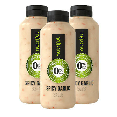MHD 12/17 Nutriful Sauce 3 x 265ml Flasche Spicy Garlic Dressing Topping