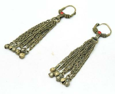 Vintage Banjara Rare *jhumka* Belly Dance Kuchi Tribal Gypsy Pair Of Earrings