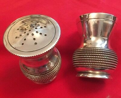 Antique Silver Plated Pepper Pot & Salt By G & C Gowland, Newcastle c.1850's