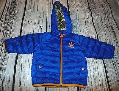 Baby Toddler Boy 12m Adidas Blue Puffer Coat Dinosaur Camo Lined Hooded Jacket