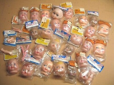 Lot of 31 ASSORTED DOLL HEADS & HANDS Wang's WESTRIM CRAFTS Plastic RUBBER New!