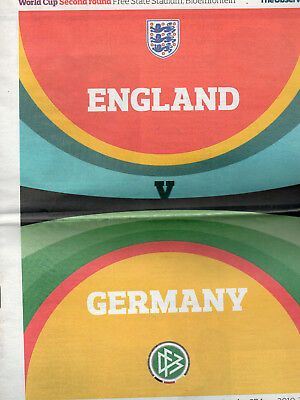 2010 World Cup Finals England v Germany Football Programme (Guardian Edition)