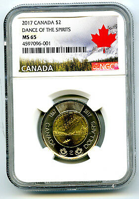 2017 Canada $2 Toonie Ngc Ms65 Dance Of Spirits 150Th Anniv Two Dollar Coin 001