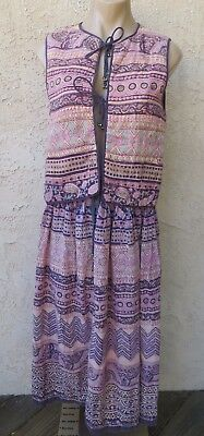 Vintage 1970's Phool Indian ethnic purple cotton quilted vest top skirt 2 pc O/S