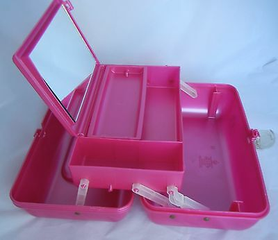 Vintage Caboodles Makeup Case Train Pink Jelly Removeble Tray Large Mirror EUC