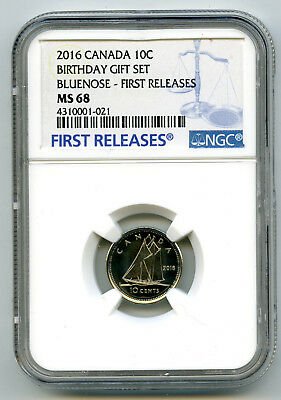2016 Canada 10 Cent Happy Birthday Dime Ngc Ms68 First Release Proof Like Pop=11