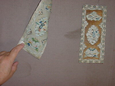 3 WONDERFUL SMALL PIECES EARLY 19th CENTURY EMBROIDERY SILK AND GOLDBROCADE *HG*