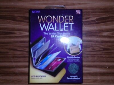Wonder Wallet Genuine Leather RFID Blocking Wallet Holds 24 Cards As Seen On TV